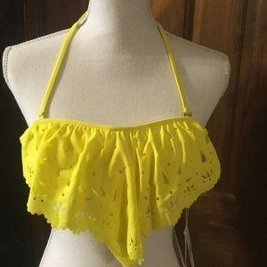 Pilyq Yellow Medium Cut out Bikini Top